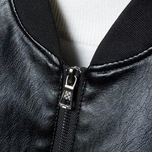 Image 2 - Chaqueta de cuero para hombre, abrigo con cuello de soporte, primavera y otoño, informal, ajustada, gran cremallera de PU, 8XL