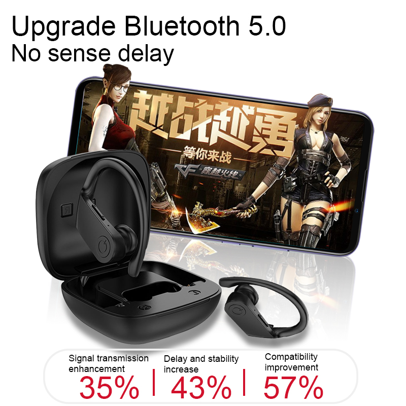 bluetooth earphone 5.0 TWS Wireless Headphons earphones Sport Earbuds 3D Stereo Gaming Headset With Mic Charging Box for phone