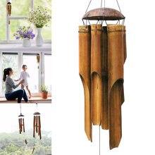 Carrilhão de bambu feito à mão, enfeite de pendurar para terraço, interior do jardim, ornamentos de decoração ao ar livre, quintal, vento, campainha, bdf99