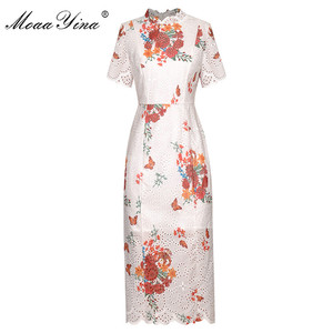 Image 1 - MoaaYina Fashion Designer dress Spring Summer Women Dress Stand collar Short sleeve Hollow Out Print Package buttocks Dresses