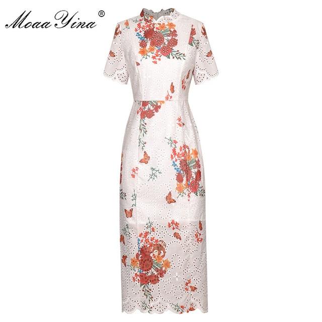 MoaaYina Fashion Designer dress Spring Summer Women Dress Stand collar Short sleeve Hollow Out Print Package buttocks Dresses