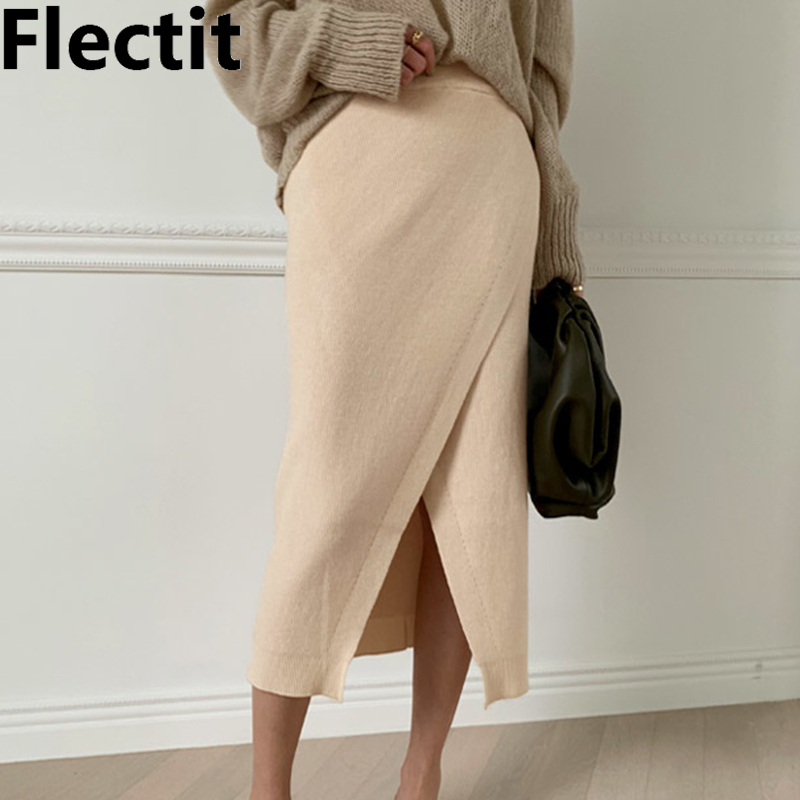 Flectit Knitted Wrap Midi Skirt Front Split High Waist Sweater Skirt Womens Chic Outfits *