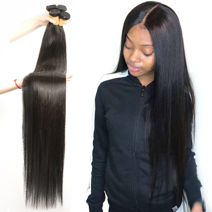 Fashow 30 32 34 36 40 inch  Straight Hair Bundles 100% Natural  Bundles Double Wefts  Hair s 1