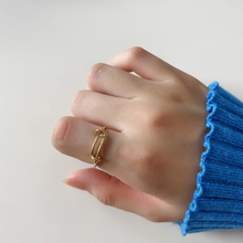 Korean version fashion simple personality joker sterling silver 925 women's creative gold adjustable ring jewelry