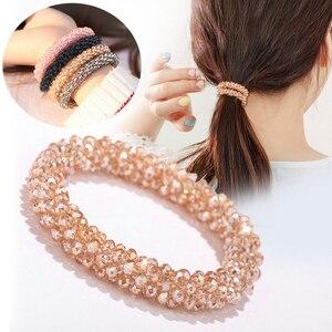 Женские резинки для волос с кристаллами, элегантные эластичные резинки в Корейском стиле, украшения для фиксации хвостиков