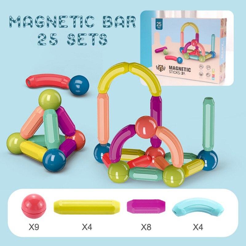 Children Assemble Magnetic Building Blocks Toys Early Education Spell Magnetic Hundred Change Magnetic Magnetic Bar (64PCS)