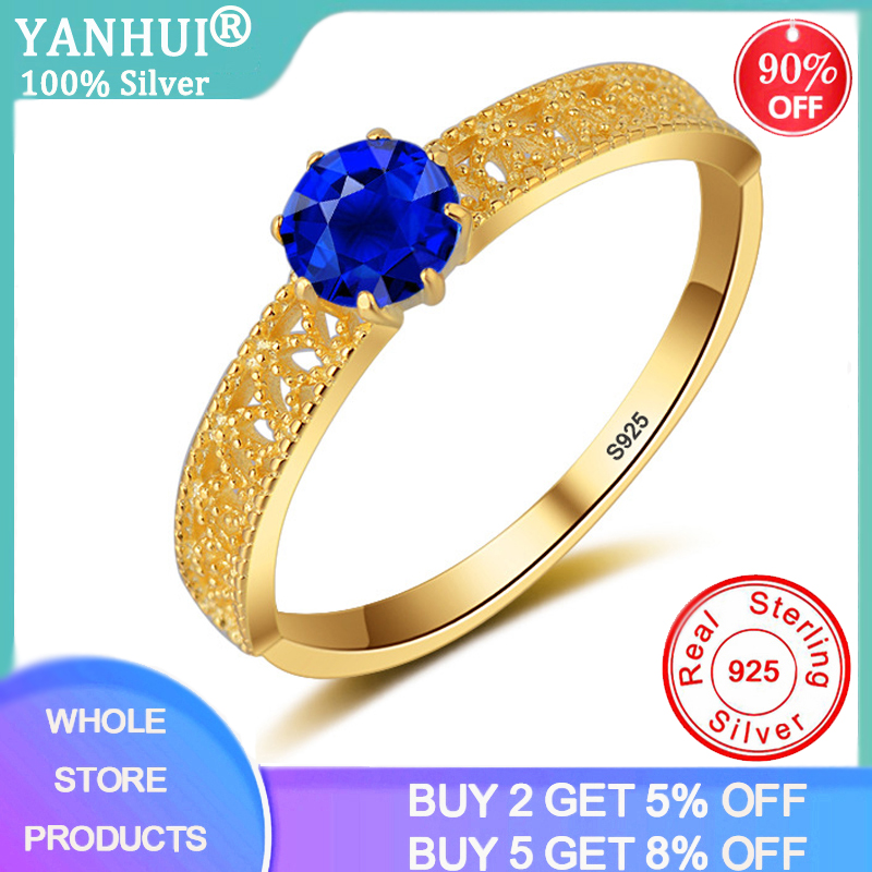 YANHUI Hollow Pattern Blue Gemstones Ring 0.75ct Sapphire Ring Silver 925 Jewelry Aquamarine Ring For Women Engagement Rings