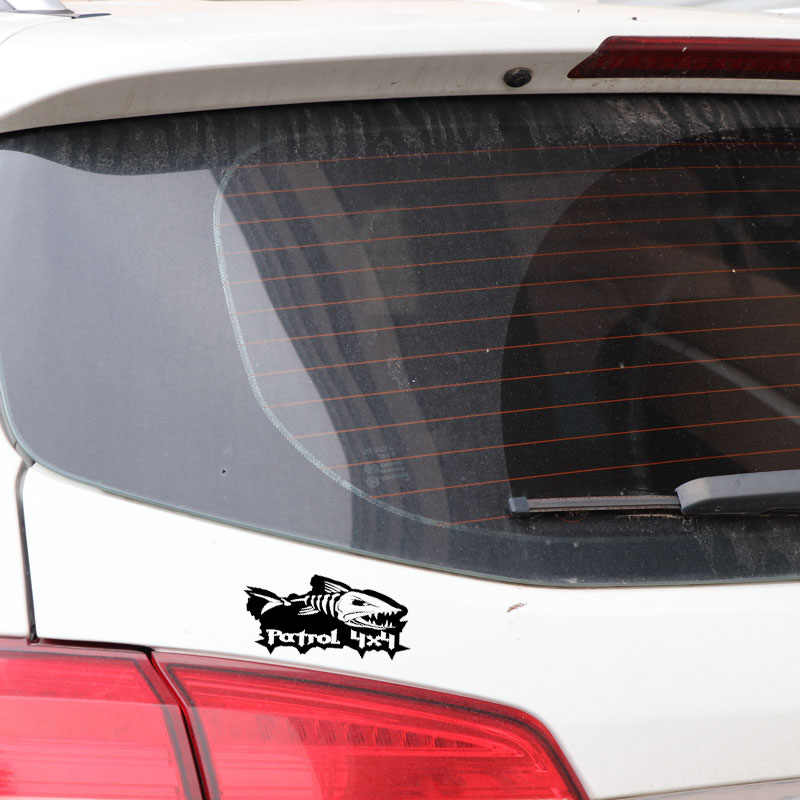 Volkrays 2 X kişilik araba Sticker devriye 4x4 Evil balık balıkçılık tekne aksesuarları yansıtıcı vinil çıkartması siyah/ gümüş, 6cm * 13cm