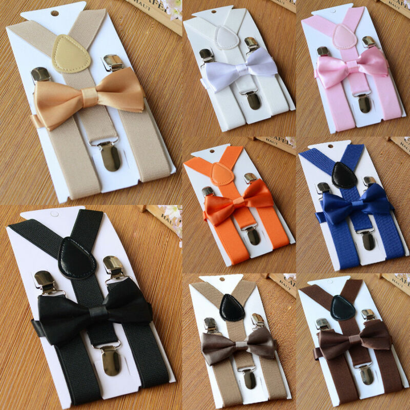 Elastic Adjustable Kids Boys Girls Baby Straps Suspenders Braces Bow Tie Set Clip-on Children