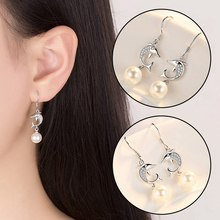 Crystal Dolphin Earrings Pearl Stud Rhinestone Silvery Pendant Trendy Sweet Women Girls Valentine'S Day Christmas Jewelry Gift(China)