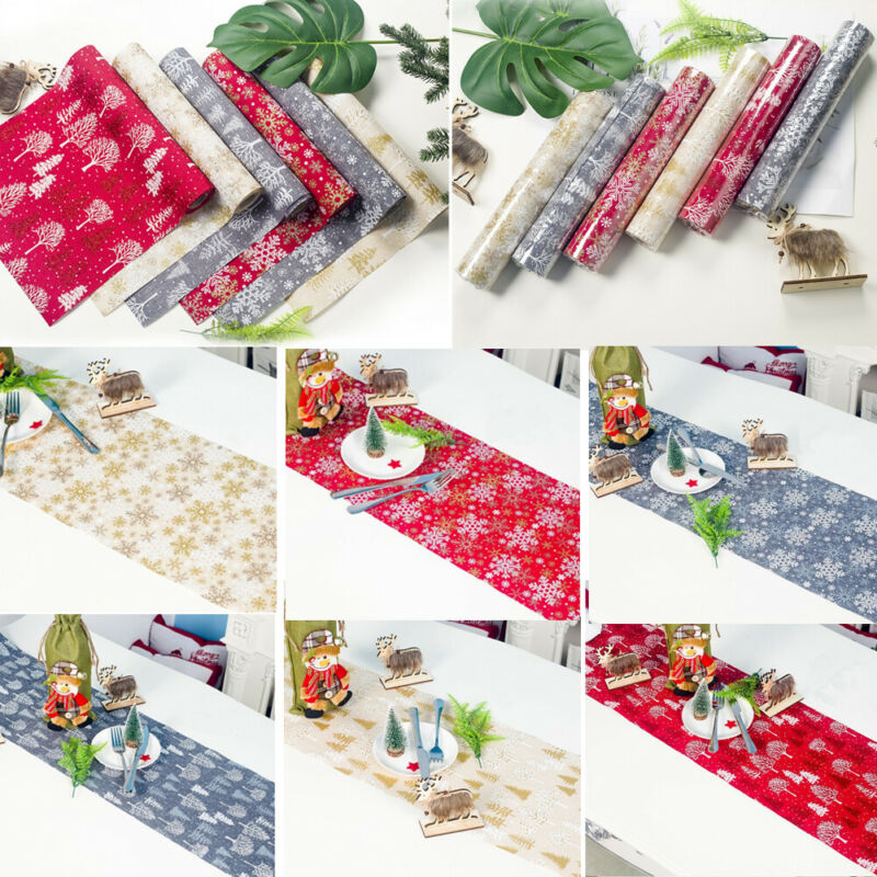 New 2019 Christmas Table Runner Christmas Tree Snowflake Printed Table Runners Textile Festival Decoration 270x30cm