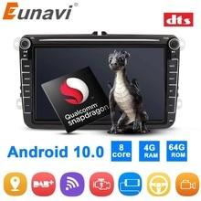 Eunavi 2Din Android Car Radio GPS para VW Passat B5 B6 CC Polo GOLF 5 6 Touran Jetta Tiguan Touran Bora Magotan CC calcomanía Autoradio DSP