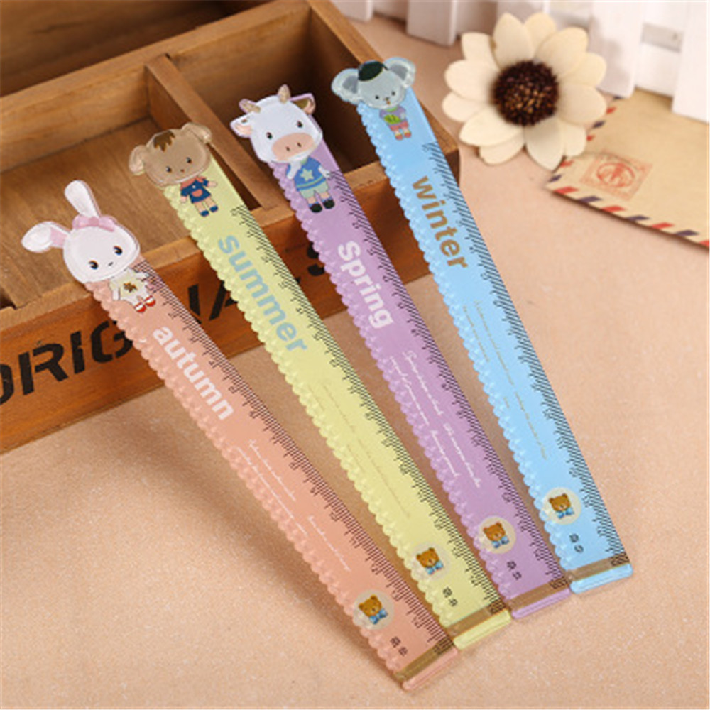 15cm Kawaii Creative Cartoon Animal Rabbit Drawing Ruler Wavy Line Cute Student Plastic Ruler Kids Gifts School Office Supplies