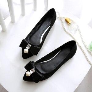 Image 3 - BEYARNE2019 Parel Platte Schoenen Voor Vrouwen, Koreaanse Boot Schoenen, Kristal Schoenen Voor Vrouwen, Plus Size, comfortabele Schoenen Voor WomenE1146