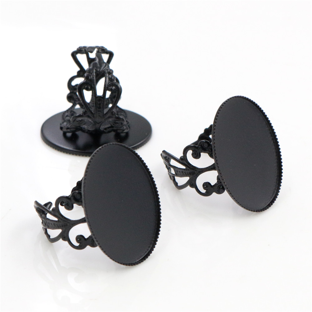 18x25mm 5pcs Black Plated Brass Oval Adjustable Ring Settings Blank/Base,Fit 18x25mm Glass Cabochons J4-35