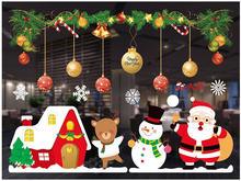 Рождественские украшения цветные наклейки на окна настенные