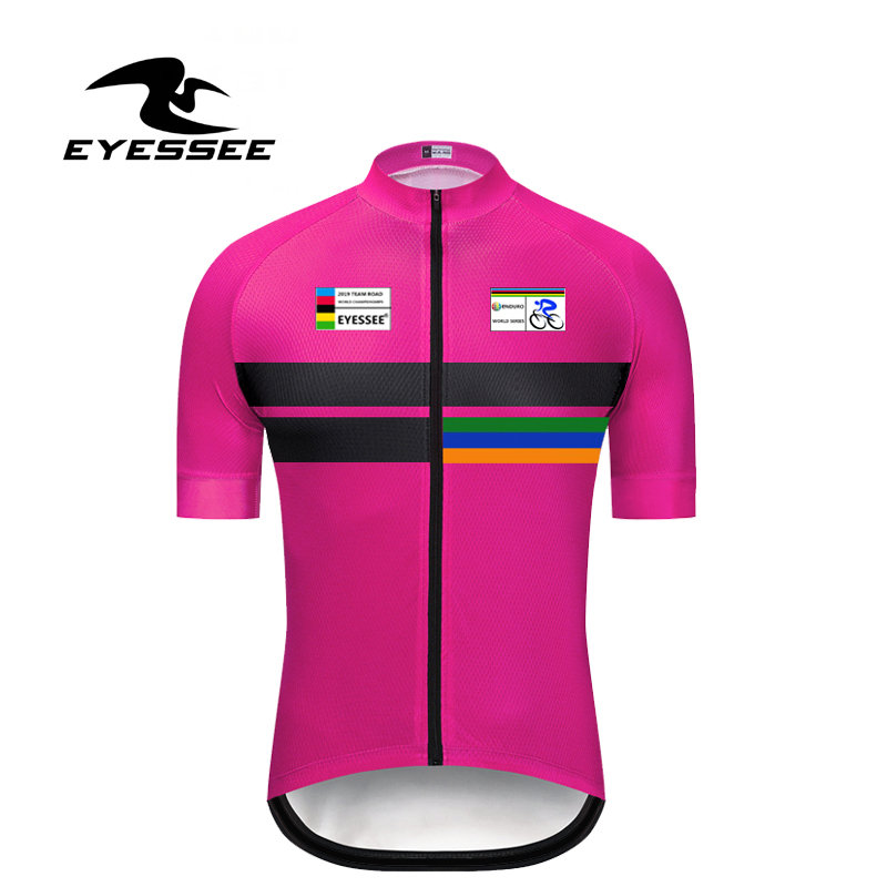 EYESSEE 2019 world championships cycling road enduro short sleeve cycling Jersey breathable men's team cycling bicycle Jersey