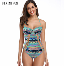New Sexy Checkered Print Swimsuit Women One Piece Suit Front Hollow Swimwear S-L Girl Backless Halter Bathing Swim Monokini