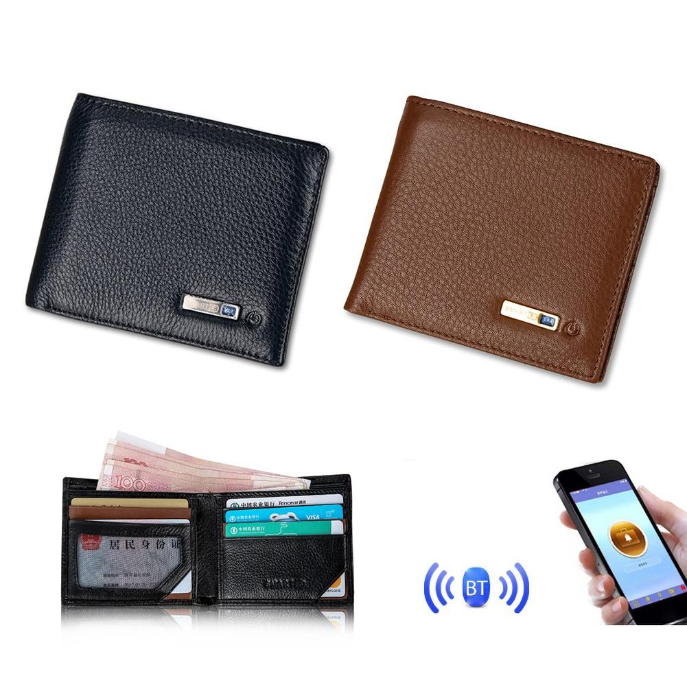 Multifunction Bluetooth Smart Safe Wallet Anti Lost GPS Locator Alarm Men Purse
