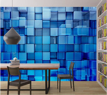 Blue space technology sense crystal mural for living room bedroom sofa KTV background decoration self-adhesive PVC wallpaper(China)