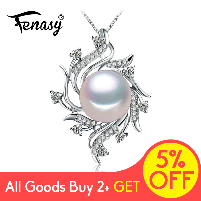 FENASY Freshwater Pearl Dainty Pendant Necklace Fashion 925 Sterling Silver Boho Statement Flower Chain Necklace Pearl Jewelry