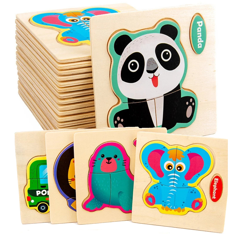 Juguetes de madera para bebés, rompecabezas 3D de dibujos animados, vehículo de madera, juego de inteligencia, juguetes educativos