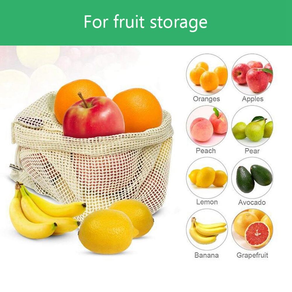 Image 3 - 30pcs 15pcs Reusable Produce Bags Organic Cotton Washable Mesh Bags for Grocery Shopping Fruit Vegetable Organizer Storage Bag-in Bags & Baskets from Home & Garden