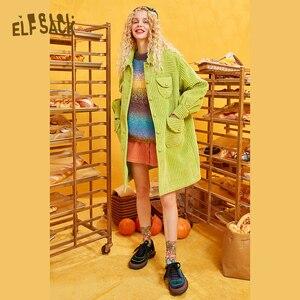 Image 2 - ELFSACK קשת צבע פסים נשים Sweater.2019 חורף אופנה מתוק שיפוע רמפה סרוג צמרות אנגורה ענקיות סתיו בגדים