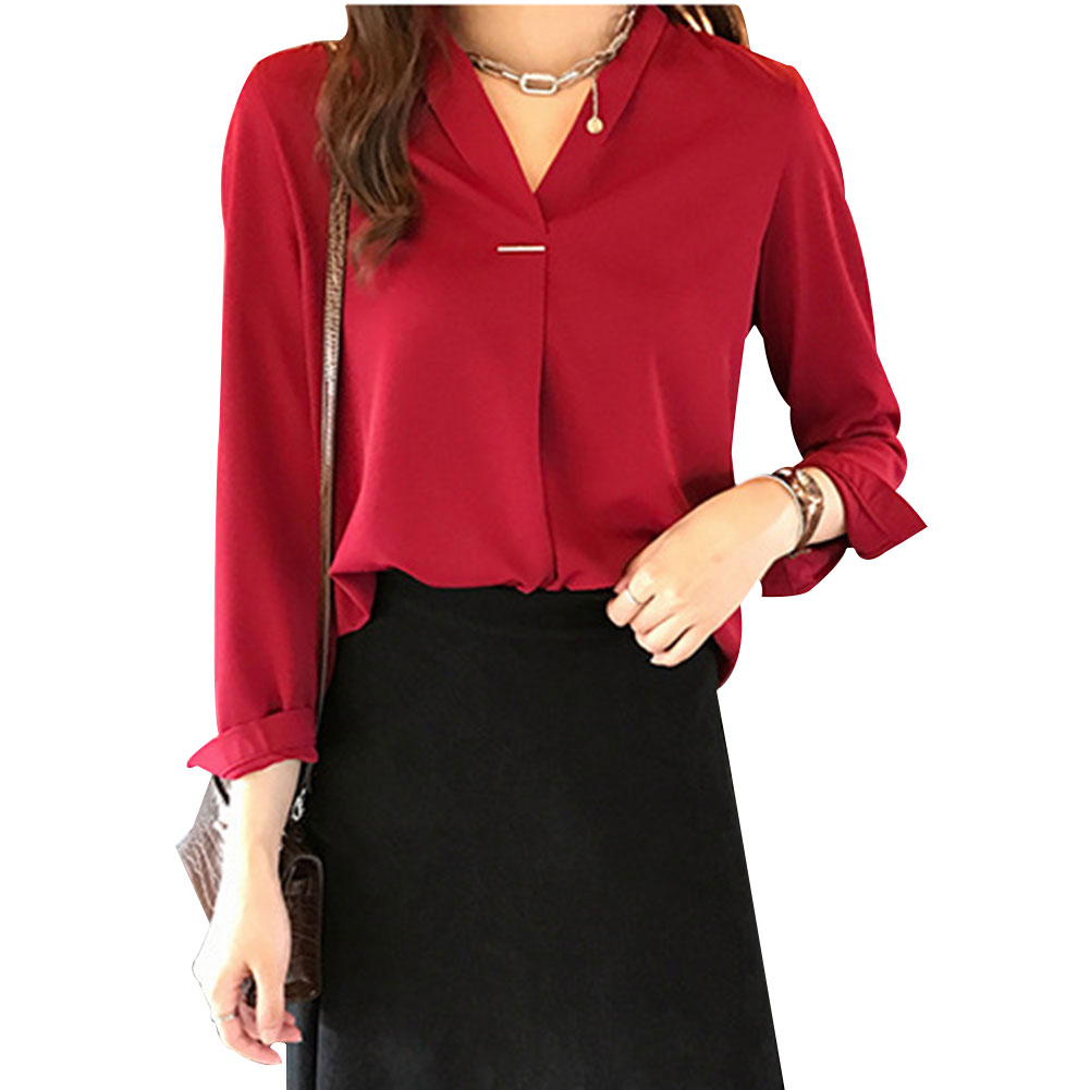 New Fashion Autumn Blouses Women Casual V Neck Shirts Long Sleeves Chiffon Tops Ladies Work Office Shirt Tops 2019