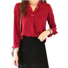 New Fashion Autumn Blouses Women Casual V Neck Shirts Long Sleeves Chiffon Tops