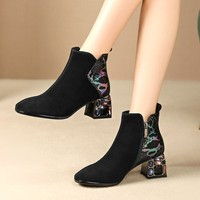MLJUESE 2020 women ankle boots Kid Suede black color square toe winter short plush crystal heel women boots size 42 party