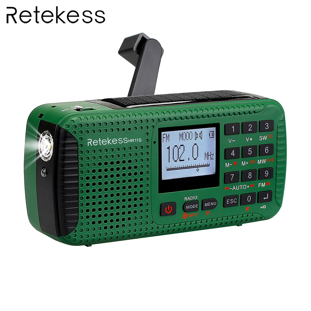 Retekess HR11S Notfall Radio Handkurbel Solar Radio FM/MW/SW Bluetooth MP3 Player Digital Recorder Tragbare