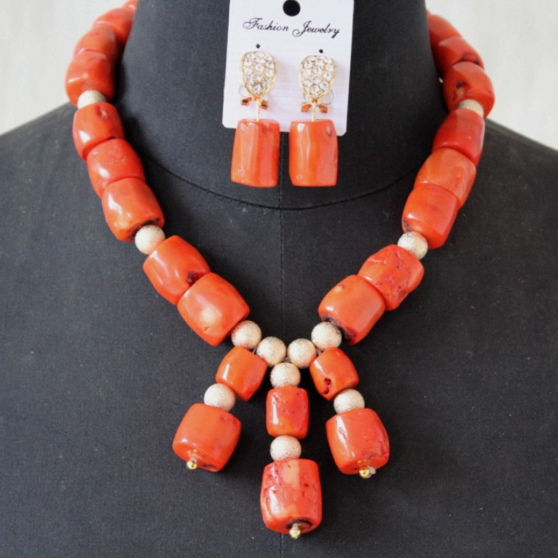 4UJewelry Nigerian Bridal Jewerly <font><b>Set</b></font> 13-14mm Original Coral African Beads 3 Pieces Dubai Women Party <font><b>Jewelry</b></font> Necklace <font><b>Set</b></font> <font><b>2019</b></font> image