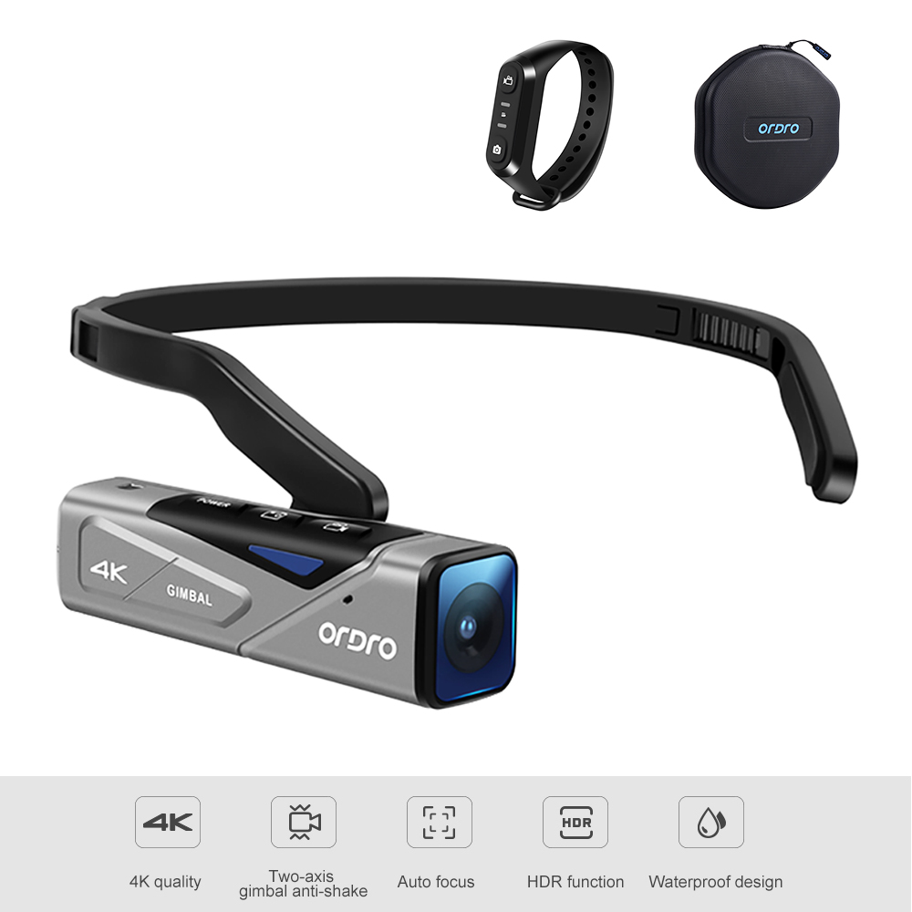 <font><b>Camera</b></font> <font><b>4K</b></font> camcorder full hd, ORDRO EP7 Wearable <font><b>Mini</b></font> Camcorder with Gimball Image Stabilization, Auto-Focus and Remote Control image