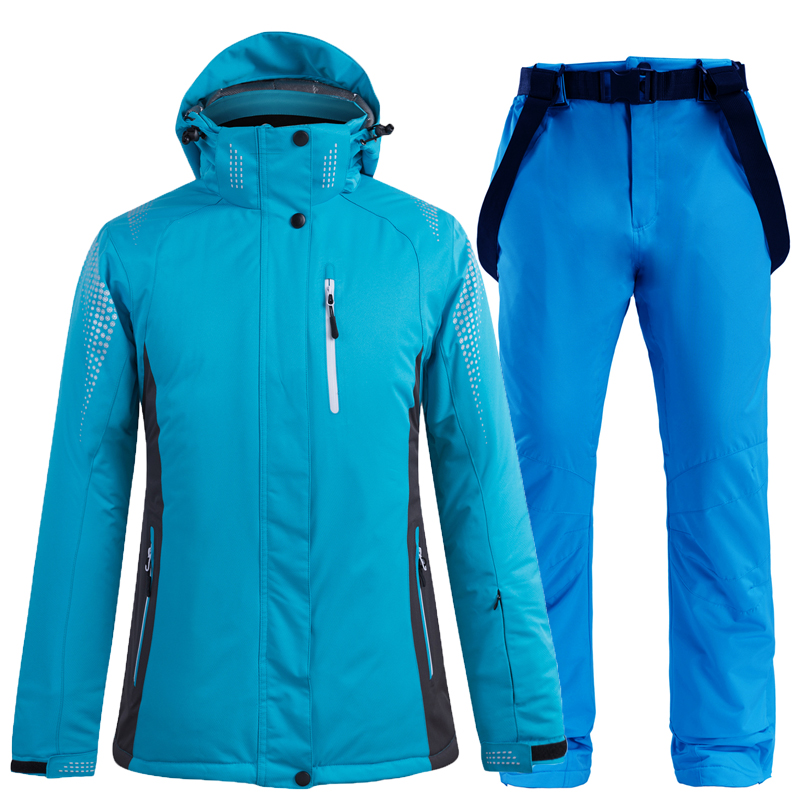 New Women Thick Warm Ski Suit Waterproof Windproof Skiing and Snowboarding Jacket Pants Set Outdoor Wear Female Snow Costumes