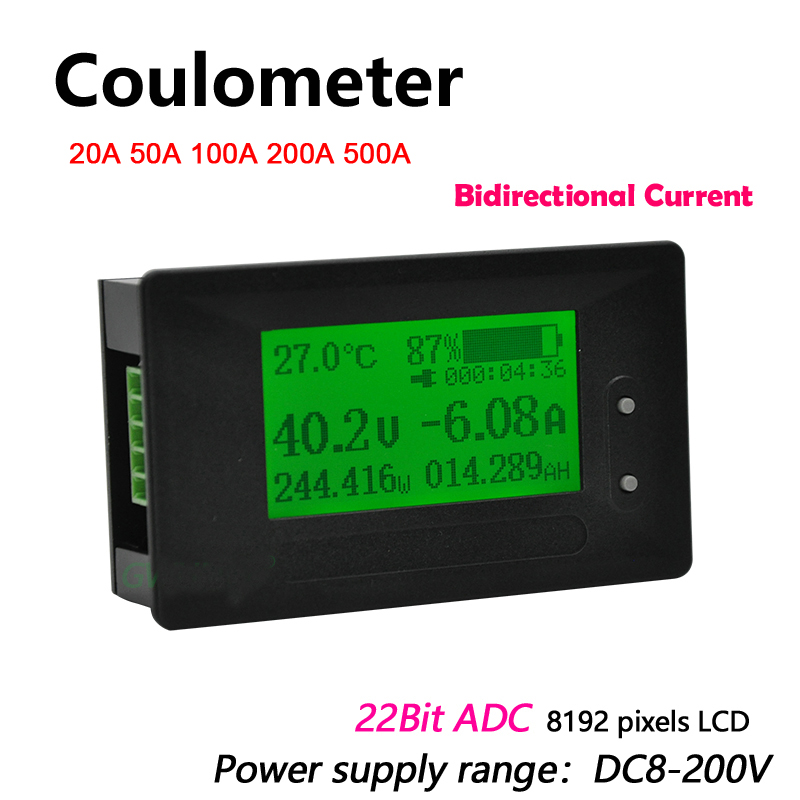 Dykb DC 200V 0-500A Coulometer Meter Battery Monitor Voltage Current Power Capacity Lithium Li-ion Lipo Lifepo4 Lead Acid Tester