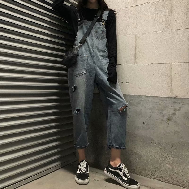 2019 Autumn Fashion Denim Pant Women Streetwear High Waist Loose Hole Straight Blue Jeans Overalls Plus Size