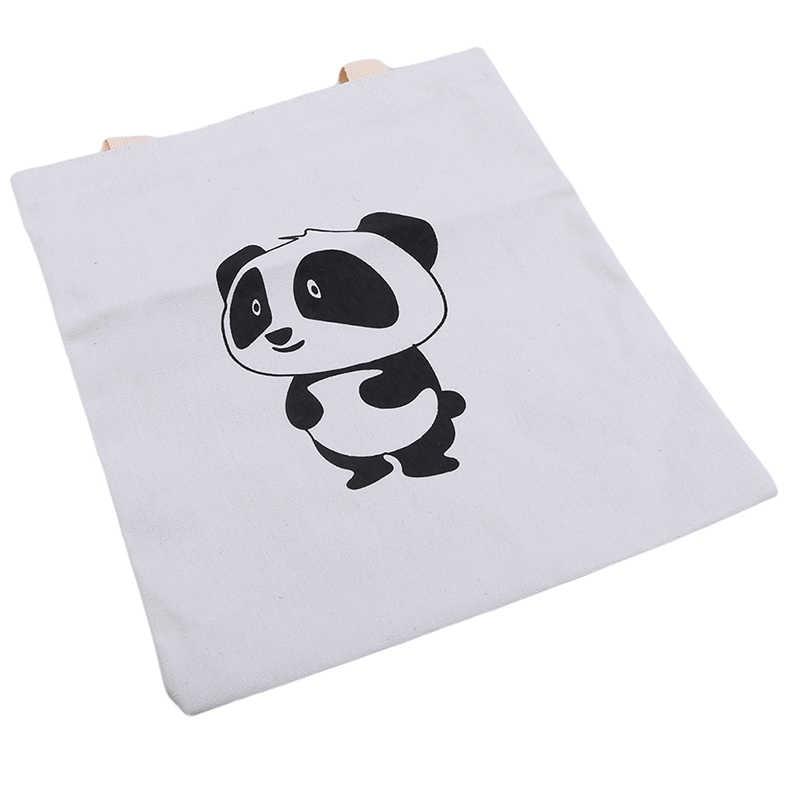 1 Pc Vrouwen Casual Modieuze Leuke Panda Canvas Kawaii Anime Winkelen Reizen Grote Herbruikbare Tassen Schoudertas