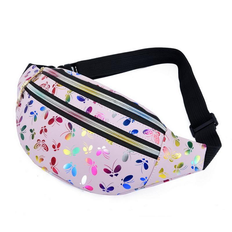 2021 Printed Waist Bag Women Fanny Pack Colorful Girls Bum Bag Travel Kids Cartoon Belt`s Bag Festival Mobile Phone Pouch Purse