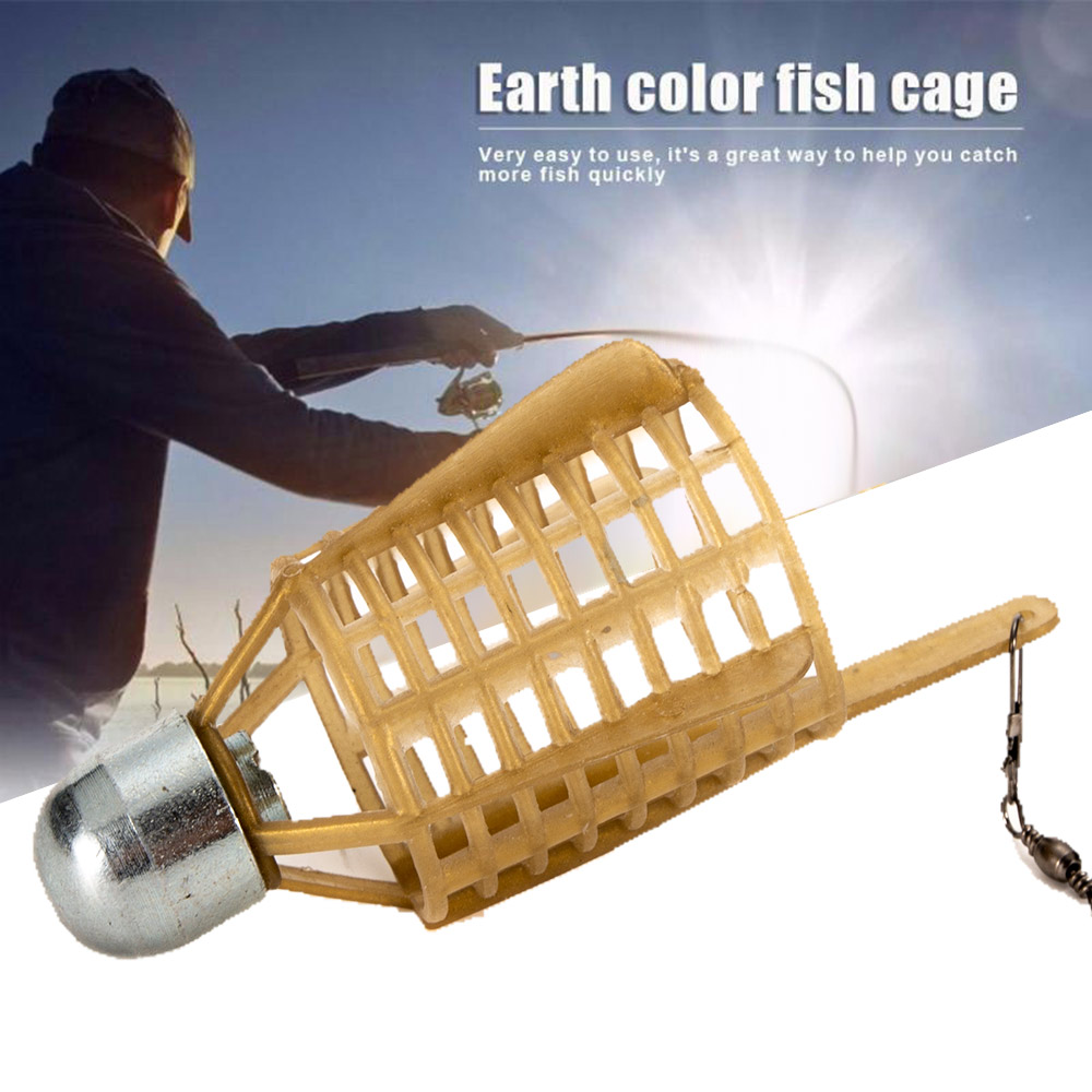 Fishing Bait Fishing Bait Cage Fishing Lure Cage Fish Lead Khaki Trap Feeder Feeding Fish Nesting Device Holder Basket Portable