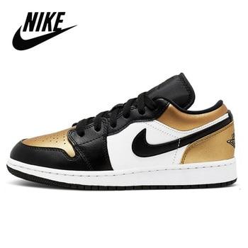 Nike Air Jordan 1 Low Gold Toe Original Men Shoes Comfortable Women Basketball Shoes Sports Sneakers Nike Air Jordan 1 GS Low