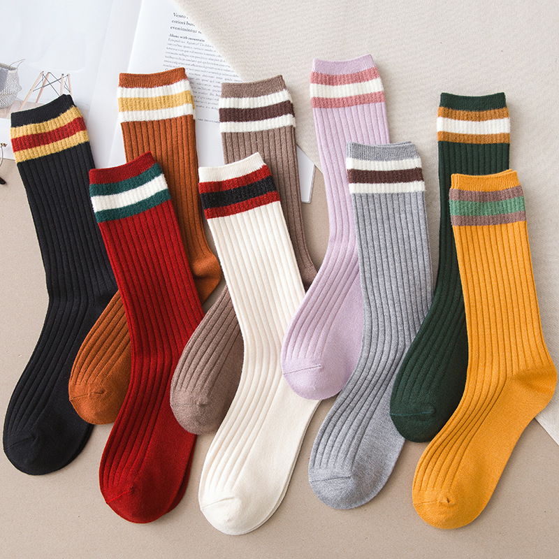 Colorful Socks In Tube Female Socks College Style Solid Color Cashmere Three Bars Draw A Pile Of Female Socks