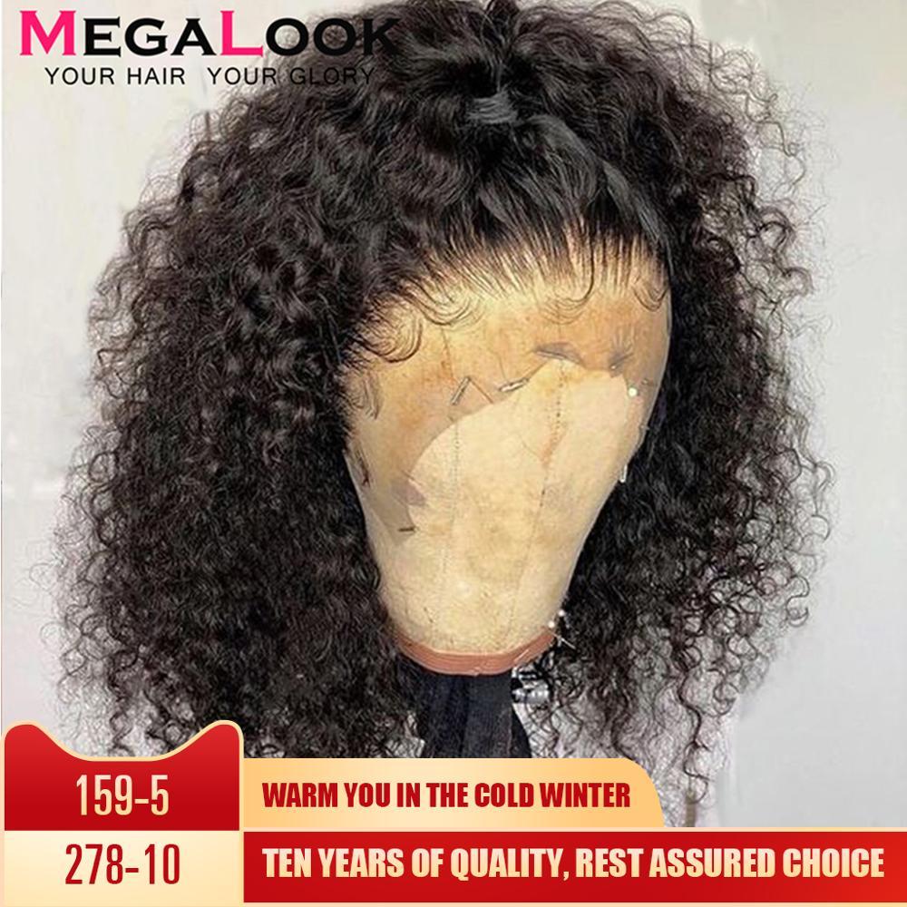 Encaracolado perucas de cabelo humano pré arrancadas com o cabelo do bebê remy peruano perucas glueless 180 frente do laço perucas de cabelo humano para preto 13x4