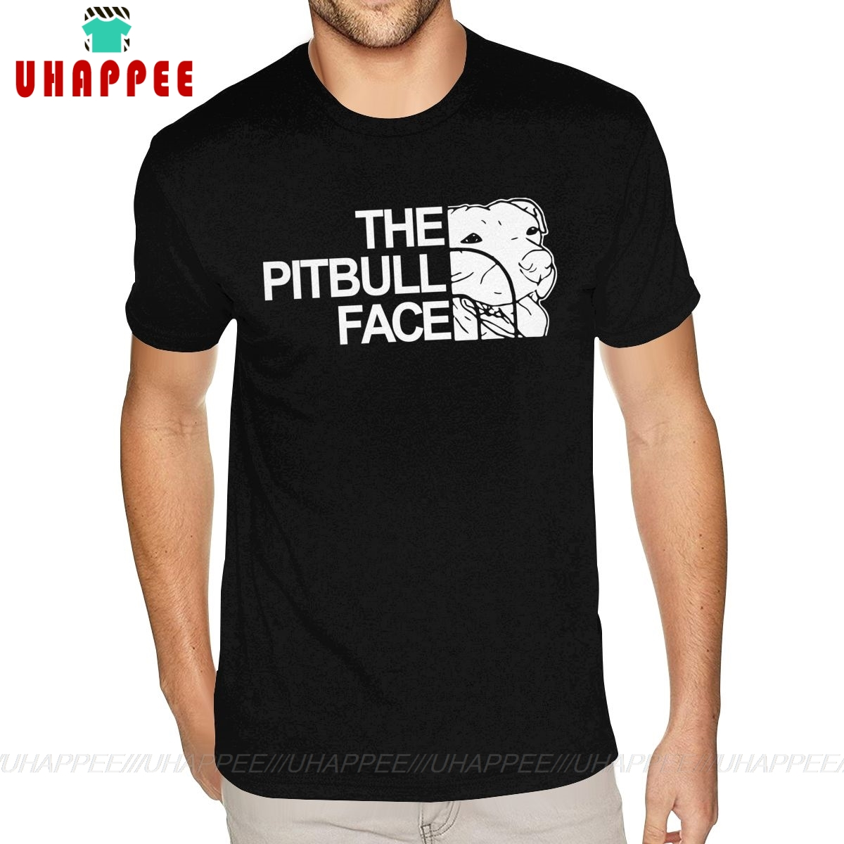 90s The Pitbull Face Funny Design Luxury <font><b>Pit</b></font> <font><b>Bull</b></font> tshirt Custom Short Sleeve Mens Man Plus Size Black T-<font><b>shirt</b></font> image