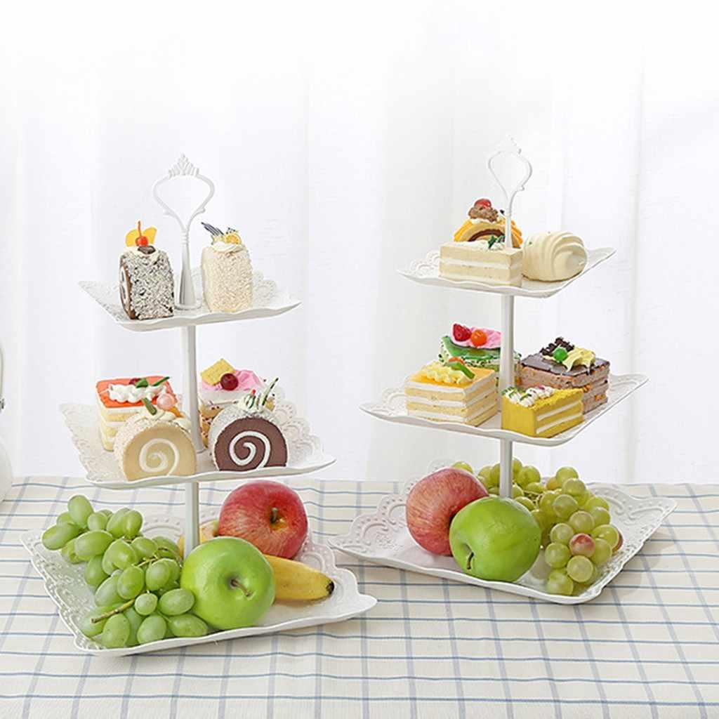 3-Tier Cupcake Stand Kue Dessert Pernikahan Acara Pesta Display Tower Kue Berdiri Kue Piring Alat Dekorasi Meja Pesta perlengkapan