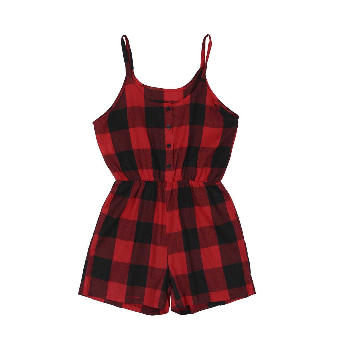 Citgeett 夏家族マッチング服母娘ノースリーブチェック柄親子ロンパースジャンプスーツ女性子供衣装