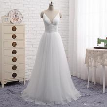 SINGLE ELEMENT Elegant Boho Tulle White Beach Wedding Dress vestido de noiva Spaghetti Straps Bridal Dresses