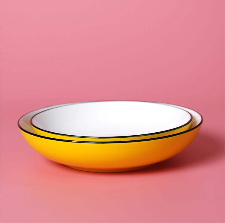 4 pcs Yellow round deep ceramic dinner plates set