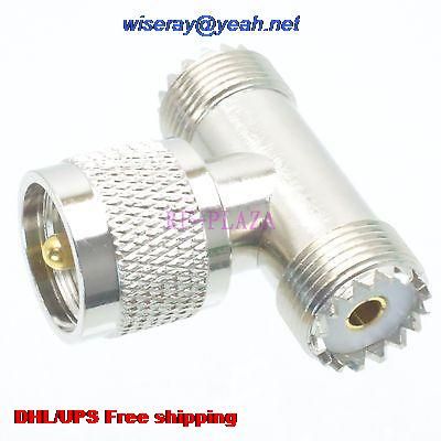 DHL/EMS 100pcs Adapter UHF PL259 Male To 2x SO239 UHF Female T Splitter COAXIAL With One Year Warranty -a4