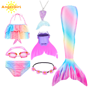 AngelGirl 2020 Girls Swimmable Mermaid Tail Princess Dress with Monofin Kids Holiday Mermaid Costume Cosplay Swimsuit Birthday